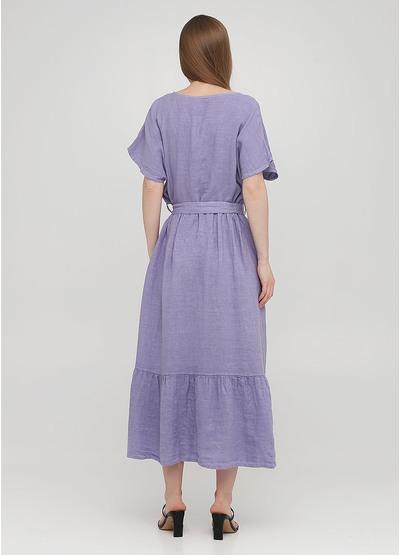 Светло-фиолетовое кэжуал платье клеш Made in Italy однотонное