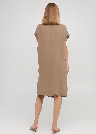 Светло-коричневое кэжуал платье оверсайз Made in Italy однотонное