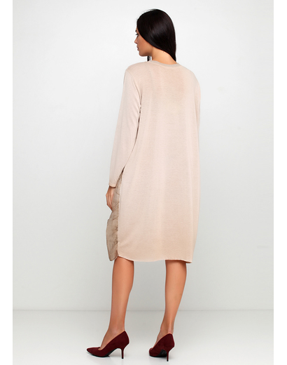 Бежевое повседневное платье а-силуэт New Collection однотонное