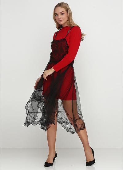 Красное платье с длинным рукавом Beauty Women однотонное