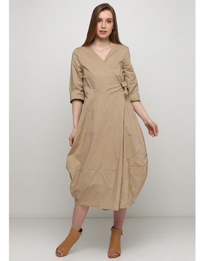 Бежевое платье на запах Insta Firenze однотонное