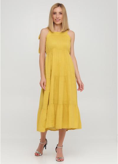 Желтое кэжуал платье клеш Made in Italy однотонное