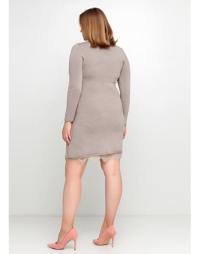 Бежевое повседневное платье футляр PPT меланжевое