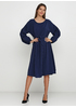 Синее повседневное платье клеш Insta360 однотонное