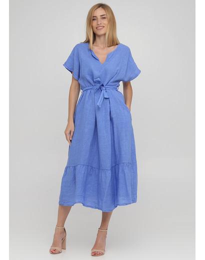 Светло-синее кэжуал платье клеш Made in Italy однотонное