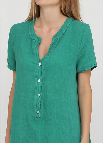 Зеленое кэжуал платье а-силуэт, рубашка Made in Italy однотонное