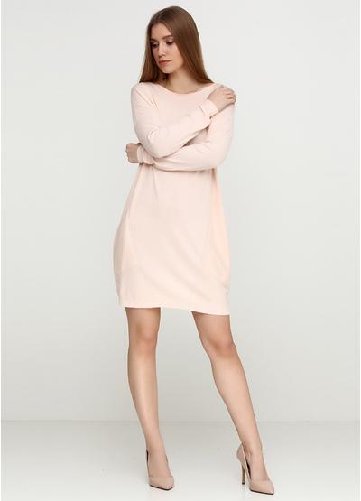 Светло-розовое платье с длинным рукавом Beauty Women однотонное