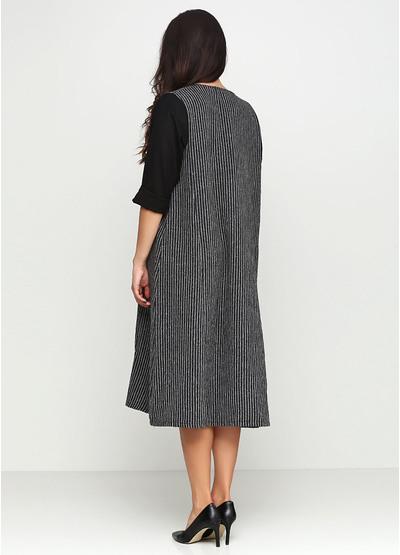 Черное платье миди 159 С в полоску