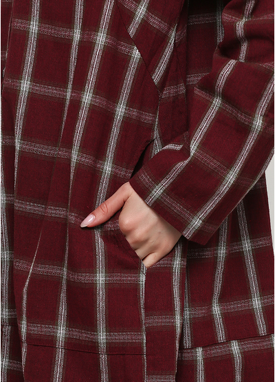 Бордовое платье рубашка Normcore firenze в клетку