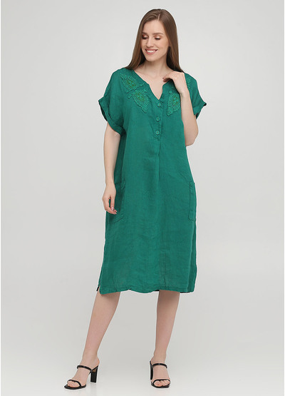 Зеленое кэжуал платье оверсайз Made in Italy однотонное