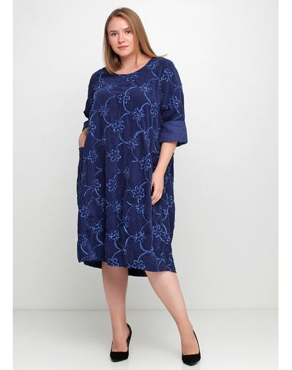 Синее повседневное платье оверсайз New Collection фактурное
