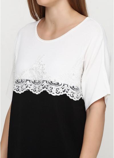 Черно-белое повседневное платье а-силуэт Beauty Women однотонное