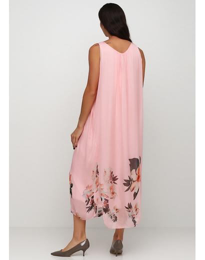 Розовое платье а-силуэт Made in Italy с цветочным принтом