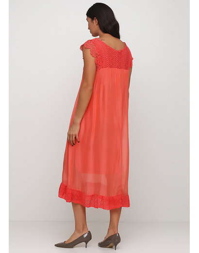 Коралловое платье клеш Made in Italy однотонное