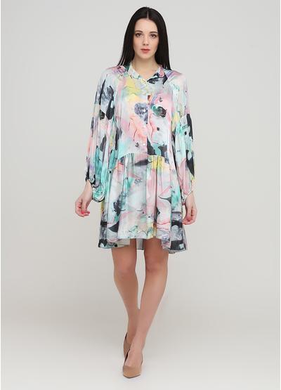 Світло-бірюзова кежуал сукня оверсайз, сорочка Made in Italy з абстрактним візерунком