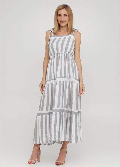 Светло-серое кэжуал платье клеш Made in Italy в полоску