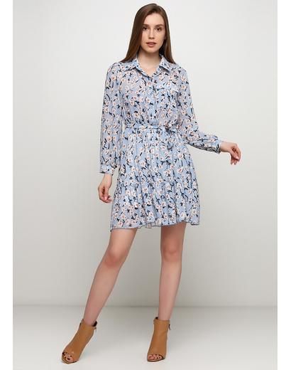 Голубое платье A aumei с цветочным принтом