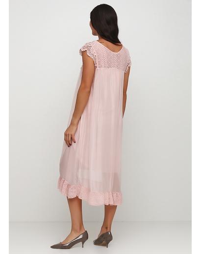 Светло-розовое платье клеш Made in Italy однотонное