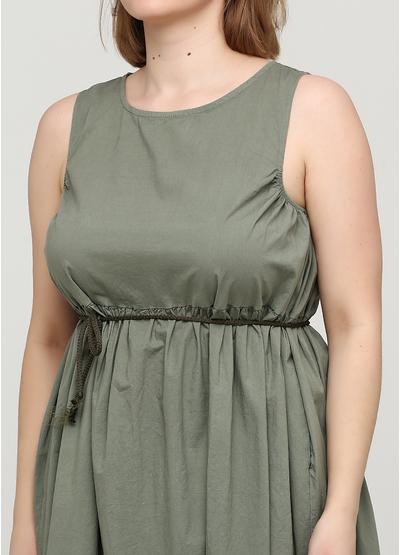 Оливковое (хаки) платье оверсайз Made in Italy однотонное