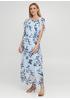 Голубое кэжуал платье клеш Moda Italia с цветочным принтом