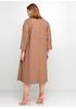 Бежевое деловое платье ампир 159 С однотонное