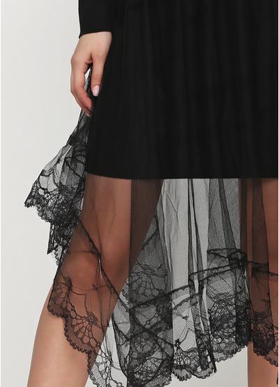 Черное повседневное платье а-силуэт Beauty Women