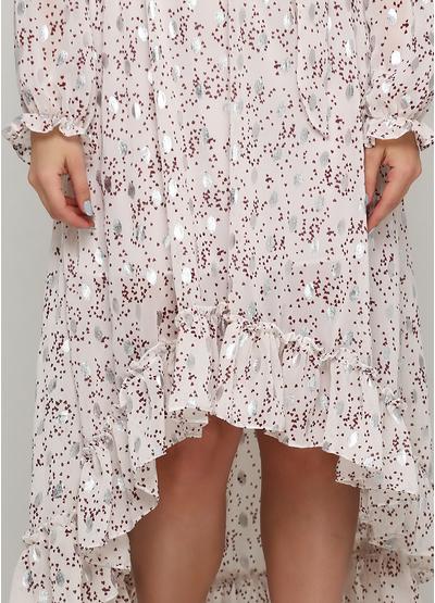 Светло-бежевое платье на запах by clara Paris сердечки