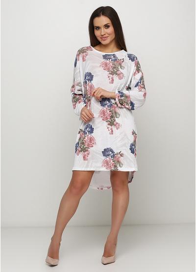 Белое платье оверсайз Italy Moda с цветочным принтом