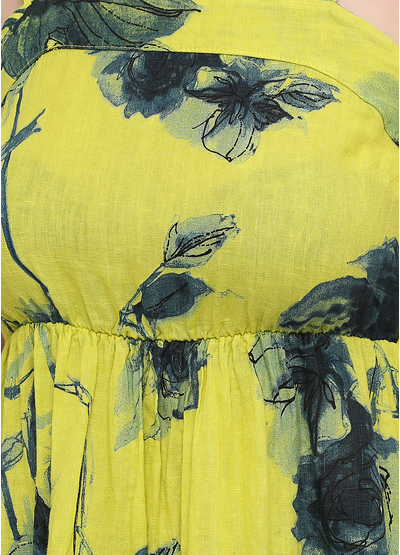 Сарафан Made in Italy кльош квітковий жовтий кежуал льон