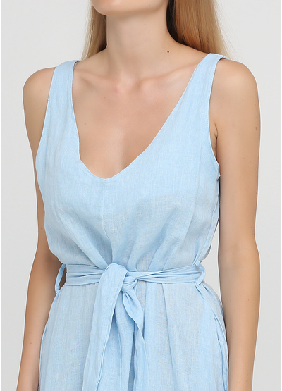 Голубое кэжуал платье а-силуэт Made in Italy однотонное
