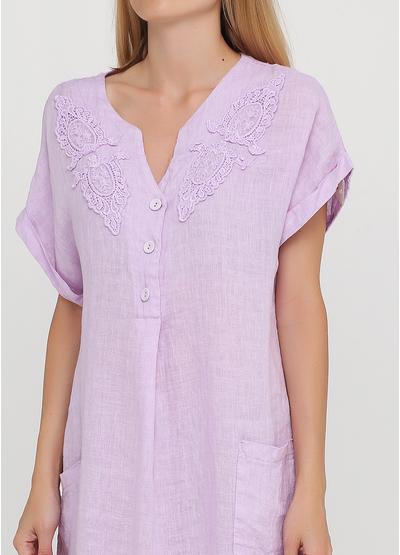 Сиреневое кэжуал платье оверсайз Made in Italy однотонное