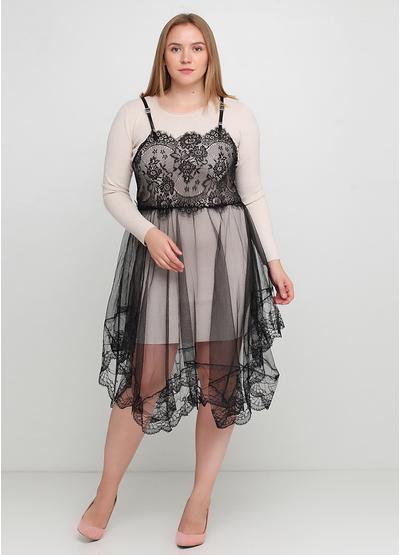Бежевое платье а-силуэт Beauty Women однотонное