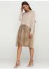 Бежевое платье с длинным рукавом New Collection с рисунком