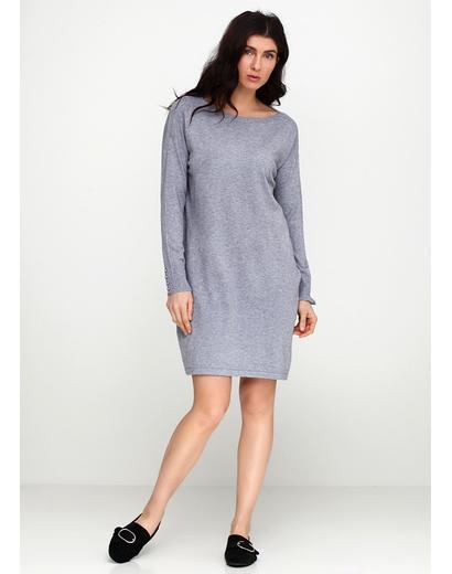 Серое платье короткое E-Woman однотонное