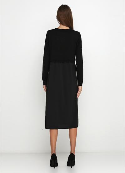 Черное повседневное платье клеш Fashion Beauty однотонное