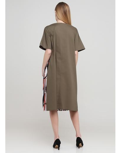 Оливкова (хакі) кежуал сукня оверсайз 159 С з абстрактним візерунком