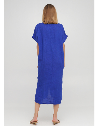 Синее кэжуал платье оверсайз Made in Italy однотонное