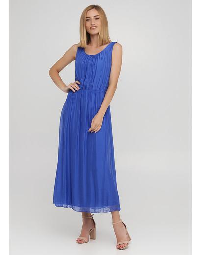 Синее кэжуал платье клеш Moda Italia однотонное