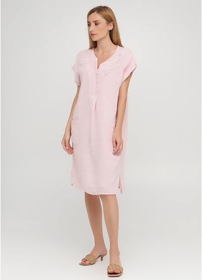 Светло-розовое кэжуал платье оверсайз Made in Italy однотонное