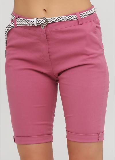 Шорты Moda Italia однотонные темно-розовые кэжуалы хлопок