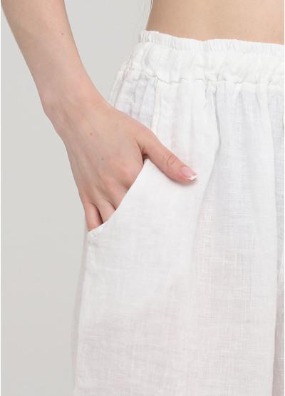 Шорты Made in Italy однотонные белые кэжуалы лен
