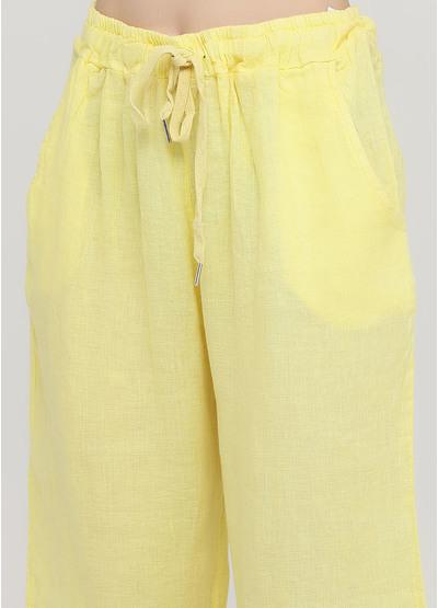 Шорты Made in Italy однотонные жёлтые кэжуалы лен
