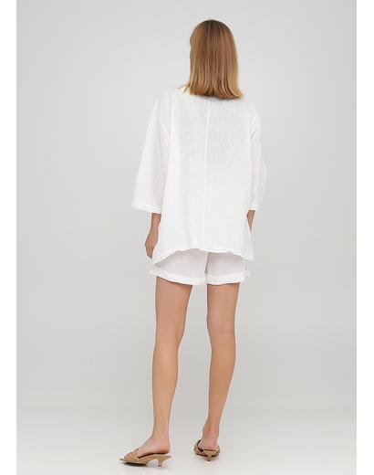 Костюм (жакет, шорты) Made in Italy с шортами однотонный белый кэжуал лен