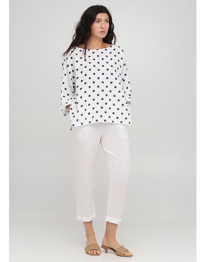 Костюм (блуза, брюки) Made in Italy брючный горошек белый кэжуал лен
