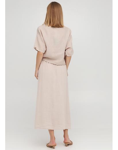 Костюм (блуза, юбка) Made in Italy юбочный однотонный бежевый кэжуал лен