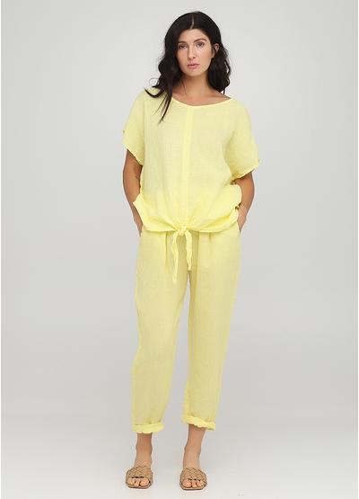 Костюм (блуза, брюки) Made in Italy брючный однотонный жёлтый кэжуал лен