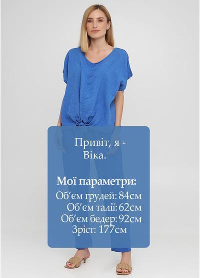 Костюм (блуза, брюки) Made in Italy брючный однотонный синий кэжуал лен