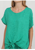 Костюм (блуза, брюки) Made in Italy брючный однотонный зелёный кэжуал лен