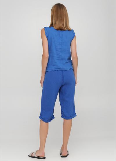 Костюм (топ, шорты) Made in Italy с шортами однотонный синий кэжуал лен