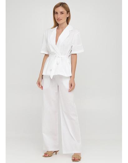 Костюм (жакет, брюки) Made in Italy брючный однотонный белый кэжуал лен